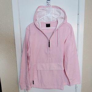 1/4 Zip Pink & White Seersucker Hooded Jacket